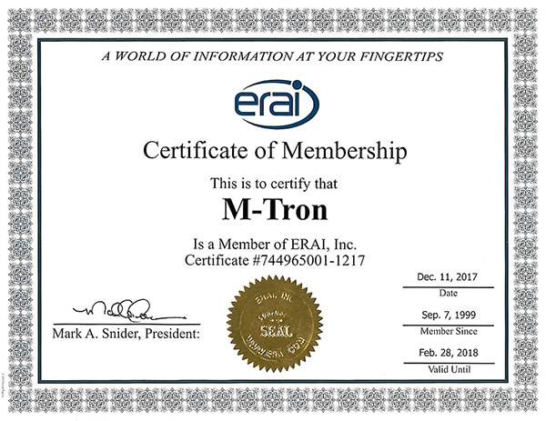 ERAI Certificate of Membership from M-TRON Components