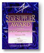 Lockheed Martin STAR Supplier Award presented to M-TRON Components of Ronkonkoma, NY, a full-service electronic components distributor